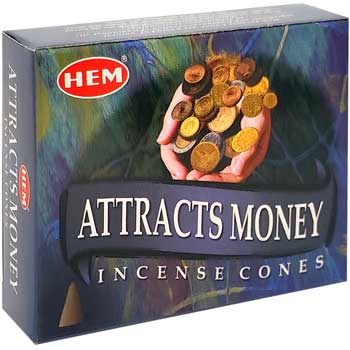 Conuri parfumate Attracts Money, gama profesional HEM, descopera potentialul de castiguri, 10 conuri (25g) aromaterapie, suport metalic inclus