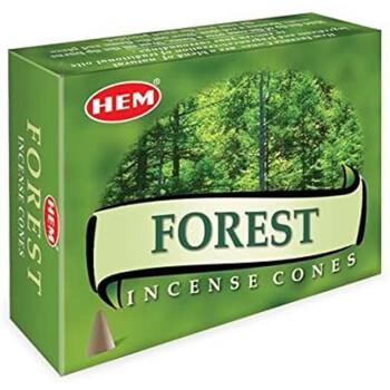 Conuri parfumate Forest, HEM profesional, improspatare si parfumare ambient cu parfum de flori de padure si aer curat,10 conuri (25g) suport metalic inclus