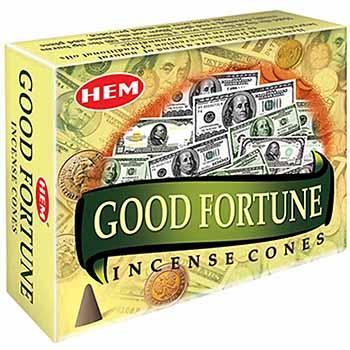 Conuri parfumate Good Fortune HEM profesional, pentru a invoca norocul, 10 conuri (25g) aromaterapie, suport metalic inclus
