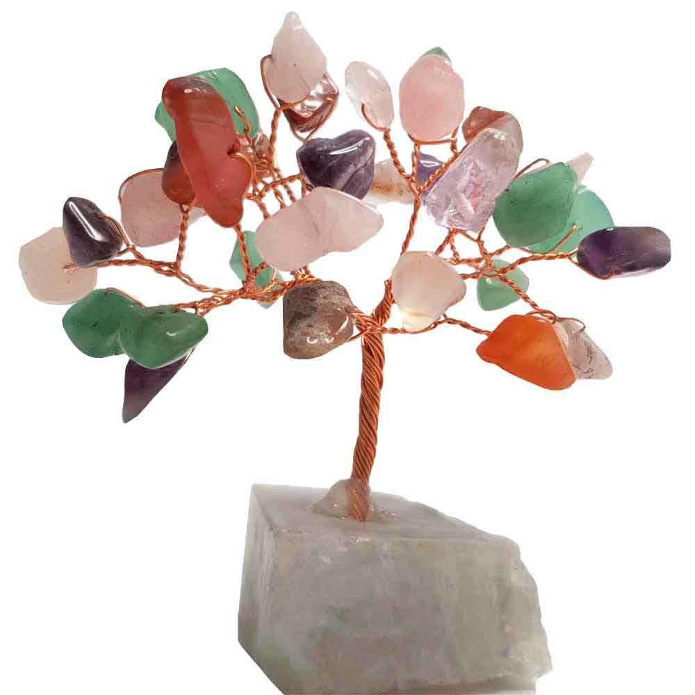 Copacei Feng Shui decorativi pentru abundenta si alungare stres, cristale multicolore, 9 cm