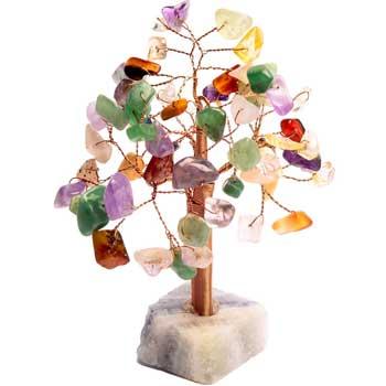 Copacei cristale pentru abundenta si alungare stres, obiect decorativ cu soclu din piatra semipretioasa, multicolor, 13 cm