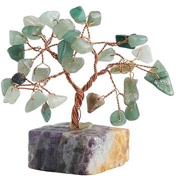 Copacei cu aventurin, piatra norocului si a sanselor bune, copacei decorativi pentru optimism si antistres, set cu ghid zodiacool