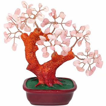 Copacel cuart roz, cristal pentru dragoste si casatorie, pom mare in suport rotund, obiect Feng Shui pentru iubire