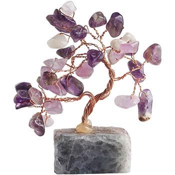Copacei Feng Shui cu ametist, piatra iubirii si fericirii pentru noroc in dragoste, pom decorativ mov