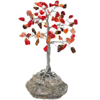 Copacel decorativ cristale coral, carneol si jasp impotriva energiilor negative, amplifica iubirea si stimuleaza activitatea intelectuala