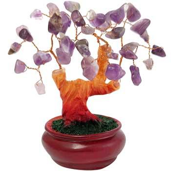 Copacel cu pietre din ametist, piatra divinitatii, copacel Feng Shui in suport rotund pentru noroc in dragoste, violet