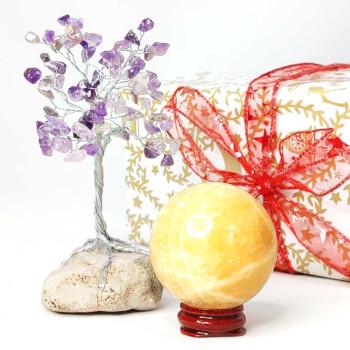 Copacel decorativ ametist si sfera din piatra naturala, simbol de protectie si intarirea resurselor, minifelicitare
