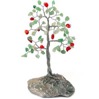 Copacel decorativ cu aventurin si carneol, pietre semipretioase, amuleta pentru bani, relatii si succes in afaceri