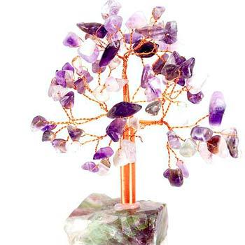 Copac feng shui ametist 68 de cristale, protectie ganduri negative si stimulare farmec personal, pomisor pietre semipretioase cu suport piatra naturala mov, 13 cm