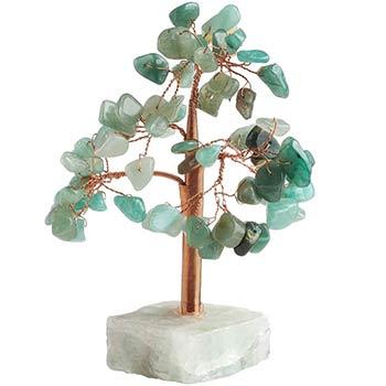 Copacel decorativ cu 68 cristale aventurin, piatra norocului si a sanselor bune, soclu piatra semipretioasa, verde, 13 cm