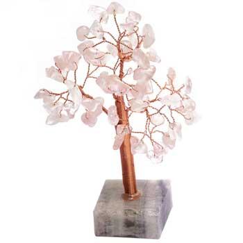 Copacei cuart roz 68 cristale pentru noroc in dragoste si casatorie, copac decorativ cu soclu din piatra semipretioasa