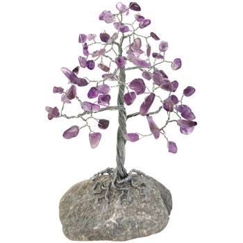Copacei decorativi 58 de cristale ametist, piatra iubirii si protectie de ganduri negative, suport din piatra naturala, 15 cm
