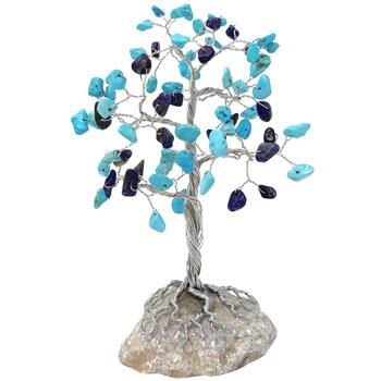 Copacei decorativi lapis lazuli si turcoaze, pietre semipretioase, pentru echilibru si succes, soclu de piatra, 15 cm