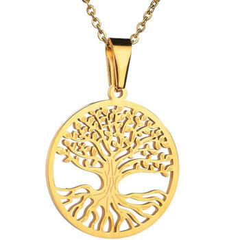 Copacul Vietii pandantiv cu lantisor auriu, amuleta pentru dezvoltare si exprimarea sentimentelor, 30 mm