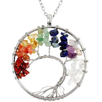 Colier Copacul Vietii 7 Chakare, pandantiv cu pietre naturale, talisman pentru dragoste si dezvoltare in cariera