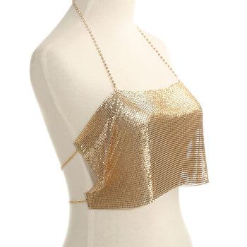 Bustiera luxury Boho din Lant, accesoriu ideal pentru serile de petreceri, aurie