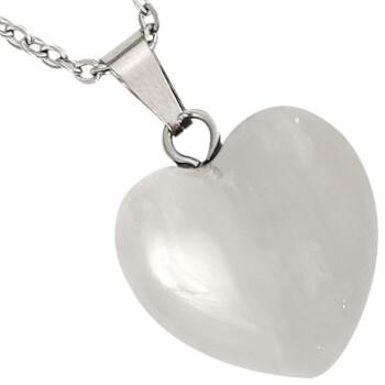 Pandantiv cristal de stanca, in forma de inima, set cu lantisor argintiu inoxidabil, piatra semipretioasa importiva energiilor negative