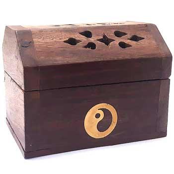 Suport conuri parfumate Yin Yang, cufar cu piesa metalica rotunda pentru ardere, lemn, maro, 8 cm