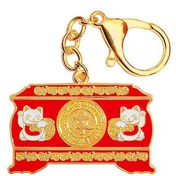Amuleta protectie bani, breloc Cufarul abundentei cu doua pisici norocoase, metal calitate