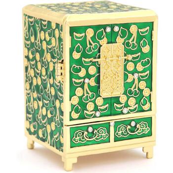 Cufarul bogatiei cu pietrele dorintelor, obiecte Feng Shui pentru bunastare si abundenta, metal, verde