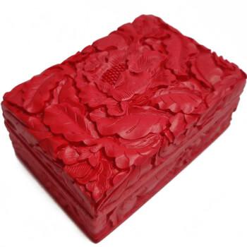 Cutie bijuterii Bujor floarea dragostei si simboluri norocoase gravate, obiect de activare energie, rosie, 105 mm
