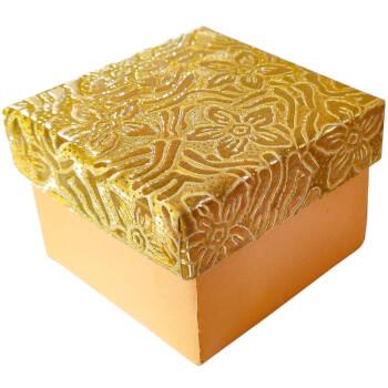 Cutie cadou pentru bijuterii, patrata, capac cu flori, auriu