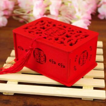 Cutie dubla fericire simbolul casatoriei si cuplului, handmade, lemn usor, rosie