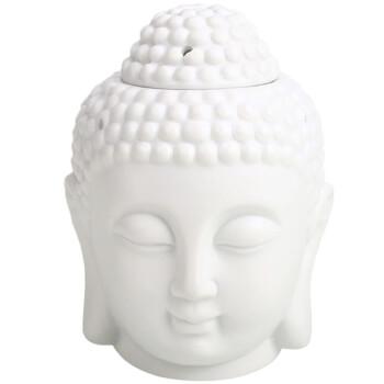 Difuzor aromaterapie Buddha, vas mare 140 mm pentru ardere lumanare si ulei esential sau tamaie, ceramica alb
