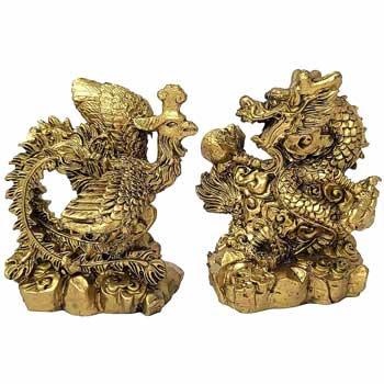 Dragon Phoenix, set 2 statuete feng shui puternice pentru dragoste, casnicie fericita si de durata