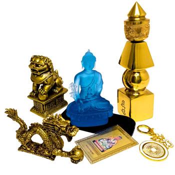 Zodia Dragon 8 remedii feng shui 2021, pagoda 5 elemente cu dragon perla nemuririi si caini fu, statueta bivol cu Buddha albastru si card tai sui, breloc om dakini si cal de vant rosu, pentru protectie de dezastre si ghinion, noroc si oportunitati