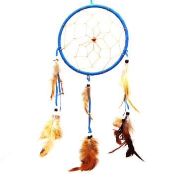 Dream catcher 1 cerc, ornament protectie cosmaruri, albastru, cu margele si pene albe si maro