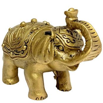 Elefant feng shui cu trompa in sus, statueta pentru dragoste si bun augur, auriu