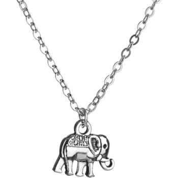Colier elefant trompa in sus, talisman dragoste si succes in cariera, lantisor argintiu