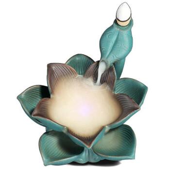 Fantana fum backflow floare Lotus, simbol de auto-regenerare, set suport ardere cu 4 conuri fumigene cu efect de cascada, led multicolor, turcoaz