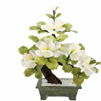 Copac de jad cu 3 bujori, floarea dragostei pure, arbore stil bonsai, suport piatra semipretioasa, 30 cm