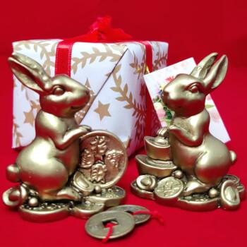 Cadou Iepuri floarea dragostei cu moneda norocoasa si pepita, amuleta pentru oportunitati si reusite, minifelicitare