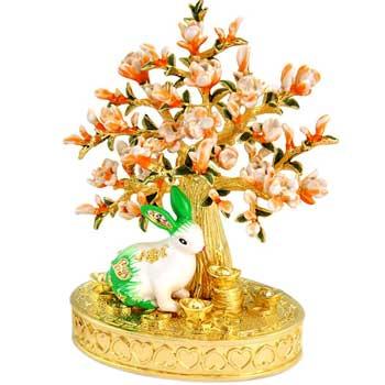 Iepure de Floare de Piersic, amuleta feng shui pentru noroc si dragoste, metal, multicolor