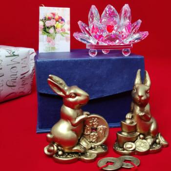 Floare Lotus cristal si 2 Iepuri cu monede norocoase, simbol al armoniei si reusitelor, cadouri personalizate cu minifelicitare