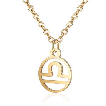 Balanta, lantisor cu pandantiv zodiac, bijuterie dama si barbati, inox, auriu