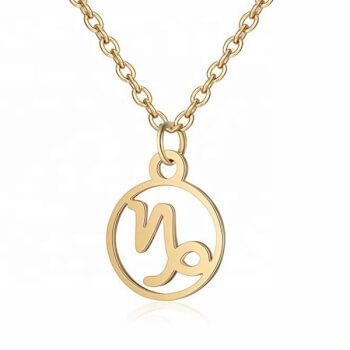Capricorn, lantisor auriu cu pandantiv zodiac, bijuterie inox pentru dama si barbati
