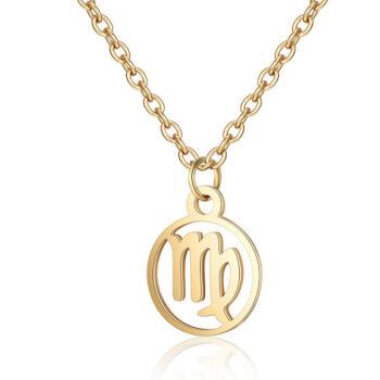 Fecioara, Lantisor auriu cu pandantiv zodiac, bijuterie inox cu semne zodiacale pentru dama si barbati
