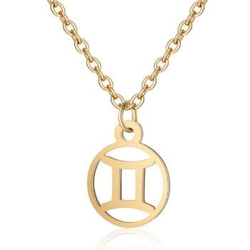 Gemeni, Lantisor auriu cu pandantiv zodiac, bijuterie inox cu semne zodiacale pentru dama si barbati