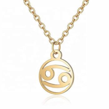 Rac, Lantisor auriu cu pandantiv zodiac, bijuterie inox cu semne zodiacale pentru dama si barbati