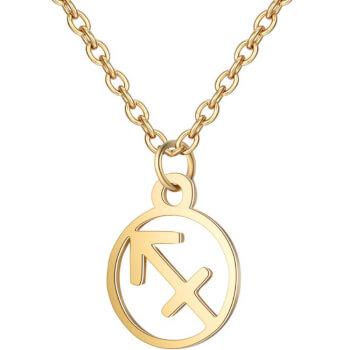 Sagetator, Lantisor auriu cu pandantiv zodiac, bijuterie inox cu semne zodiacale pentru dama si barbati