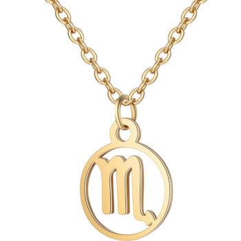 Scorpion, Lantisor auriu cu pandantiv zodiac, bijuterie inox cu semne zodiacale pentru dama si barbati