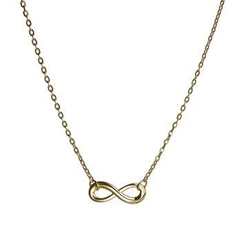 Colier auriu, pandantiv cu cifra 8, simbolul infinitului, talisman pentru bunastare si relatii de dragoste