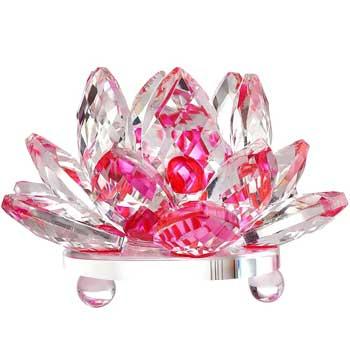 Lotus roz decoratiune din cristal de sticla tip nufar, amuleta feng shui pentru dragoste, armonie si echilibru, 8 cm
