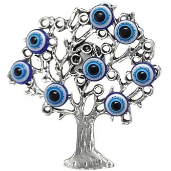 Magnet frigider copac ochisori norocosi albastru, popular ochiul Horus, simbol de protectie, inteligenta si indeplinire dorinte, argintiu