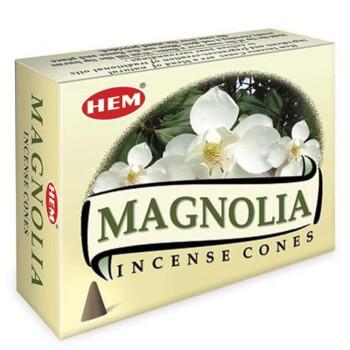 Conuri parfumate Magnolie, HEM profesional, sporeste angajamentul in relatii si dragostea in familie, 10 conuri (25g) aromaterapie, suport metalic inclus