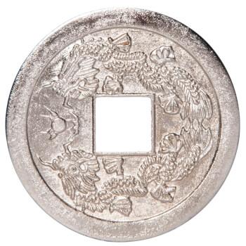 Moneda chinezeasca argintie cu dragon si ideograme de prosperitate, remediu pentru bani, 40 mm